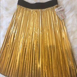 Accordion style 'Jill' metallic gold party skirt